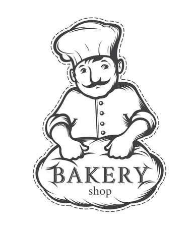 baker cartoon: baker, label or logo for  bakeries
