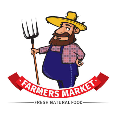 hillbilly: vector label or logo  with friendly farmer and his pitchfork