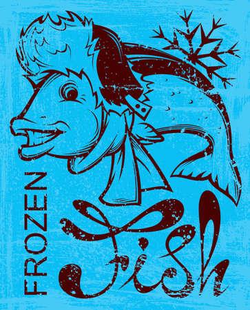 frozen fish: happy frozen fish . vector illustration