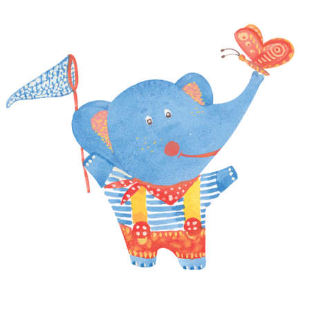 butterfly net: watercolor illustration of elephant with butterfly net , vector Illustration