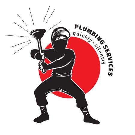 ninja tool: plumber ninja holding a plunger - plumbing services