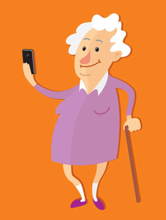 old phone: Old woman taking selfie photo  on mobile phone Illustration