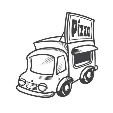 Vector illustration of a pizza car Vector