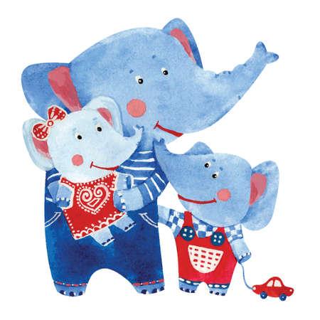 Watercolor illustration of elephants family, vector  イラスト・ベクター素材