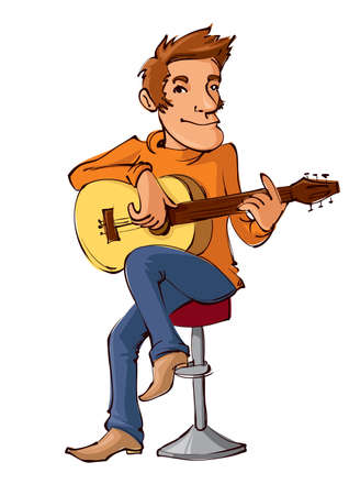 illustration of cartoon man sitting on a chair playing the acoustic guitar