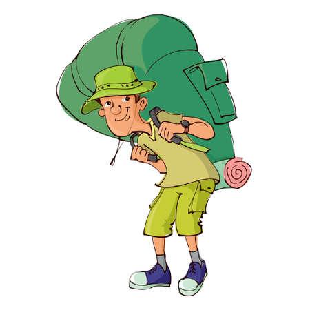 Cartoon toerist met een grote rugzak