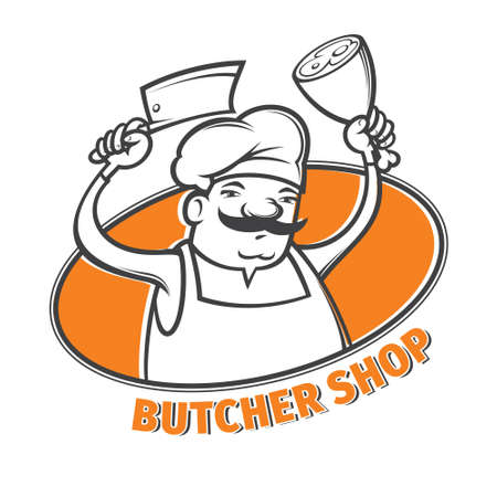vector illustration of butcher with  meat cleaver