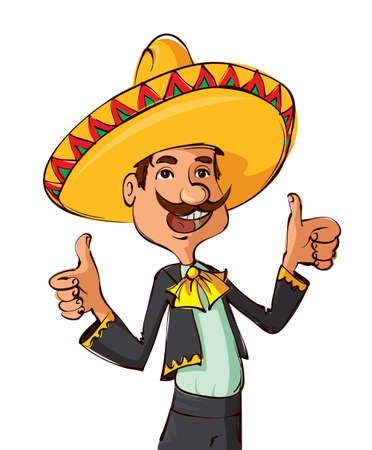 Funny mexican man with sombrero and mustache showing thumbs up Ilustração
