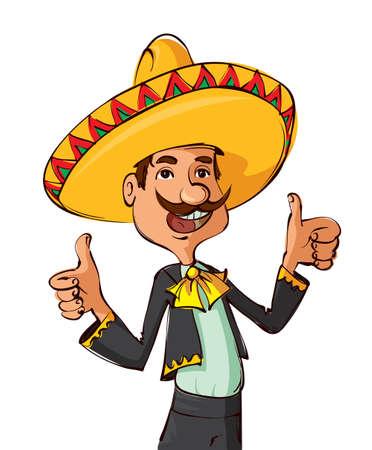 trajes mexicanos: Hombre mexicano divertido con el sombrero y el bigote que muestra los pulgares para arriba