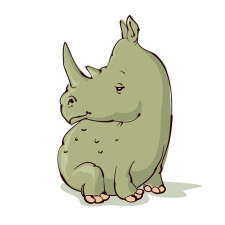 rhino vector: cartoon rhino sitting, vector illustration