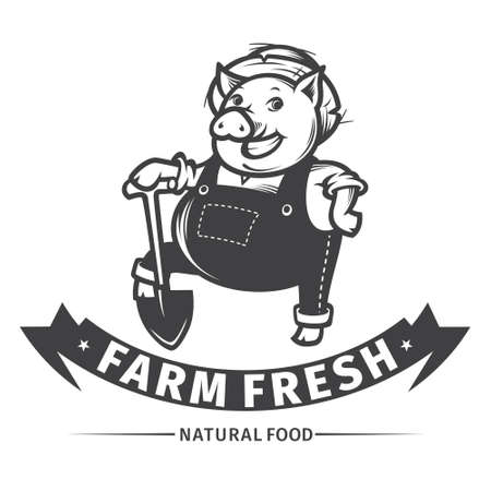 happy farmer: Happy farmer pig with shovel, farm fresh design