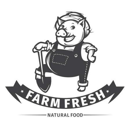 cartoon hat: Happy farmer pig with shovel, farm fresh design