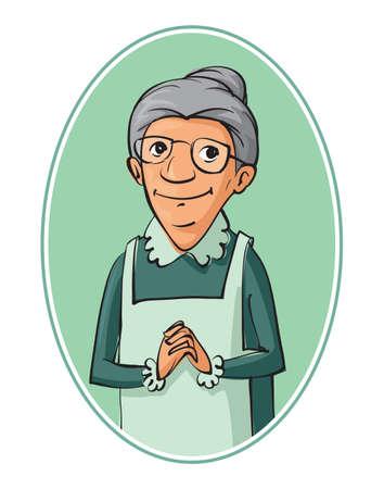 高齢者女性の文字ベクトル イラスト
