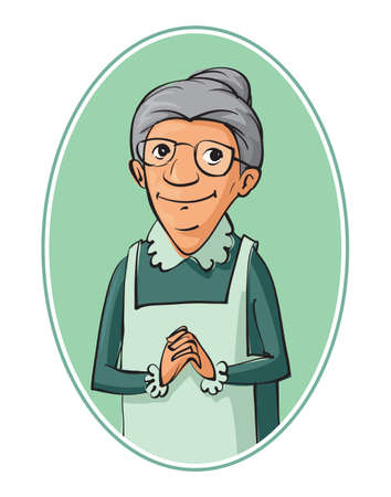 one woman: elderly woman characters vector illustration