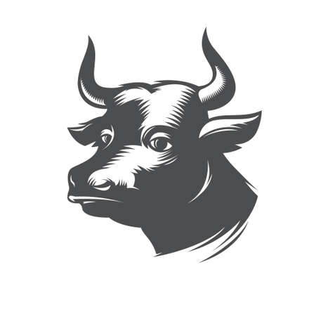 Vector Illustration of black bull head Illustration