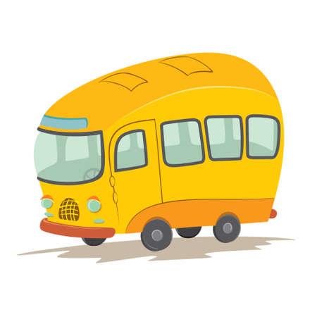 headlights: Vector illustration of bus cartoon Illustration