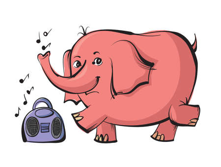 pink elephant: Happy pink elephant jumping and dancing on music