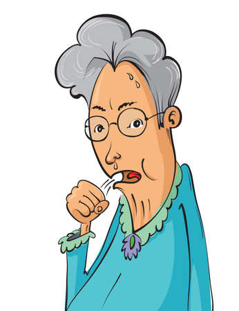 one woman: Cartoon elderly woman coughing, vector illustration Illustration