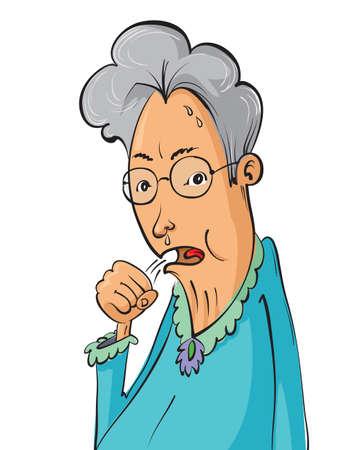 Cartoon elderly woman coughing, vector illustration Illustration