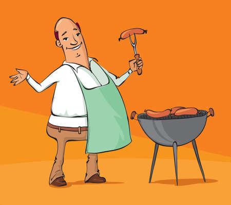 vector illustration of a man grilling sausages on the barbecue
