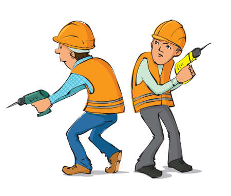 Two builders with drills, vector illustration