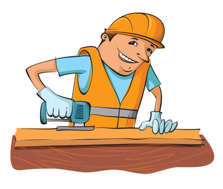 sawing: builder with electric saw sawing wooden board Illustration