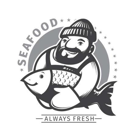 fisher man: Sea food emblem, fisherman show his fish Illustration