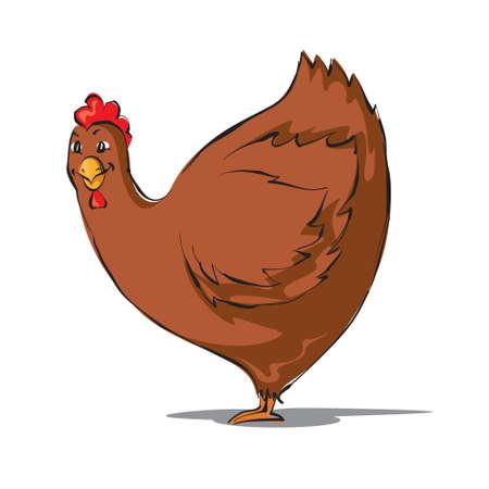 vector illustration  hen: Happy hen cartoon. Vector illustration Illustration