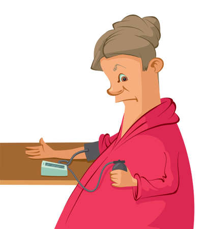 measures: Vector illustration of a woman measures her blood pressure