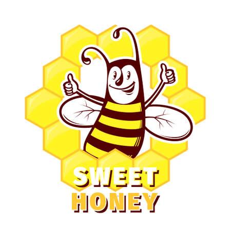 Bee honey label or logo emblem vector design template Illustration