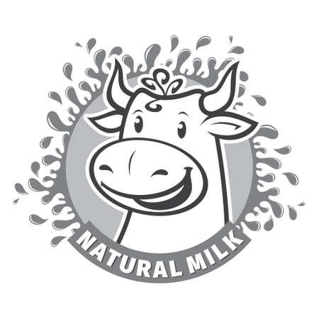 dairy cow: Fresh natural milk design template