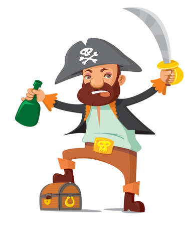 cartoon bottle: Cartoon pirate with his treasure chest