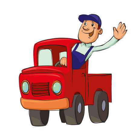 driving: Smiling man driving an old pickup truck, vector illustration