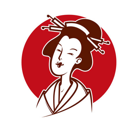japanese woman: Vector illustration  of japanese woman, emblem or logo template
