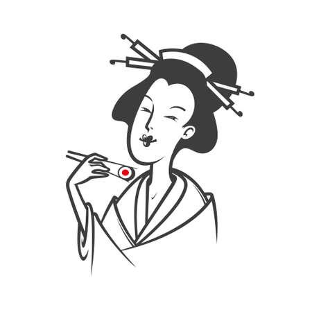 japanese woman: Beautiful Japanese woman eating sushi. Vector illustration