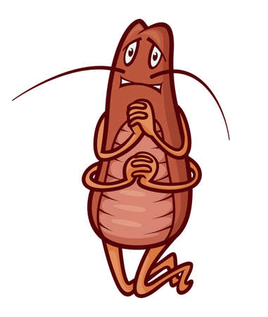 scared cockroach gesturing with clasped hands, vector