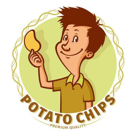 crisp: Smiling boy holding a single potato crisp chip in his hand, vector emblem.