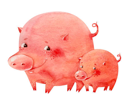 piglets: Watercolor illustration of two smiling pink piglets