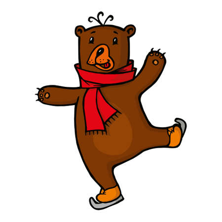 clip art people: smiling Bear in red scarf skating on ice, vector illustration