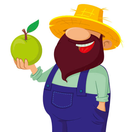 plant stand: happy bearded farmer holding a green apple Illustration
