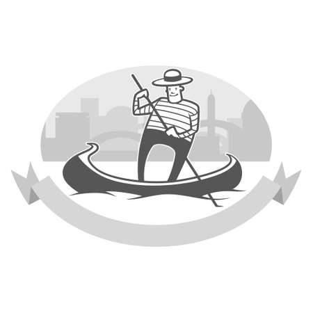 gondolier: vector illustration of gondola with smiling gondolier
