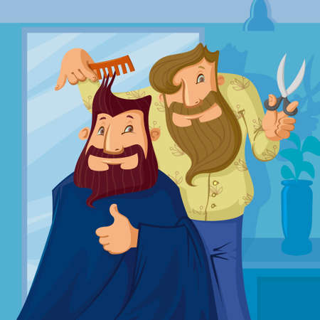 scissors comb: smiling barber cutting hair of a bearded man, vector cartoon