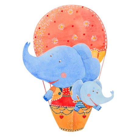 two children: two elephants fly in a balloon, watercolor illustration Stock Photo