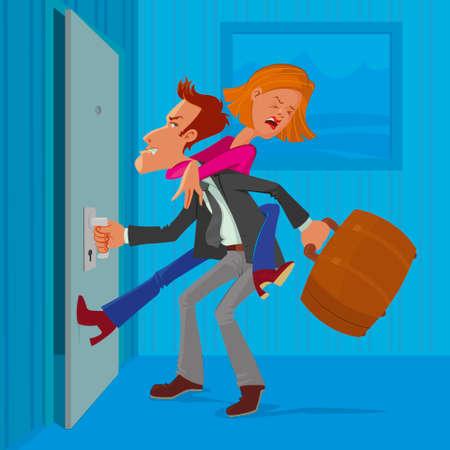 runaway: angry man leaves his wife, vector cartoon