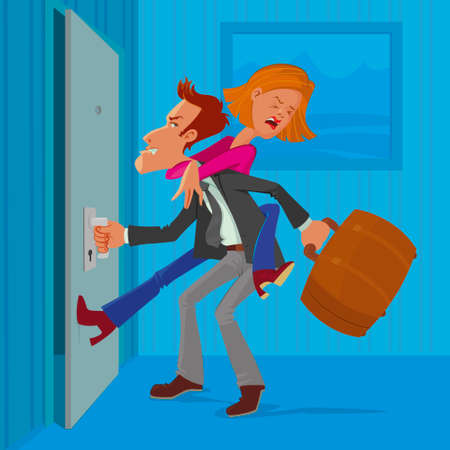 angry man leaves his wife, vector cartoon