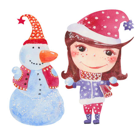 child smile: cute little girl with snowman, watercolor illustration