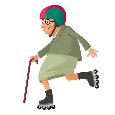elderly woman on roller skates, vector cartoon Illustration