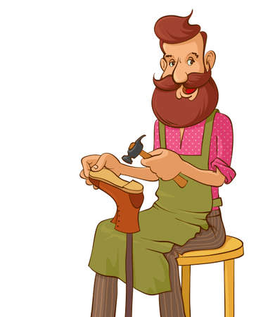 making a face: Illustration of a bearded smiling shoemaker mending a shoe