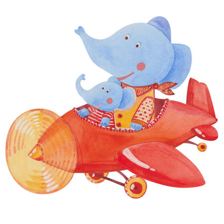 pilot wings: two elephants in the red airplane, watercolor illustration on white background Stock Photo