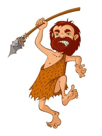caveman: Cartoon caveman with a spear, Vector Illustration Illustration